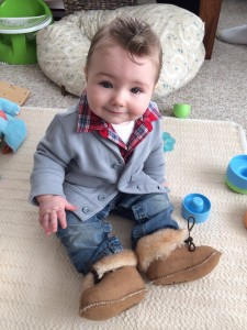 Cardigan - Baby Gap, jeans- Carter's, moccasins- Hanna Andersson, plaid shirt - Old Navy.com