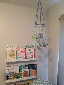 my homemade mobile and bookshelves! LOVE