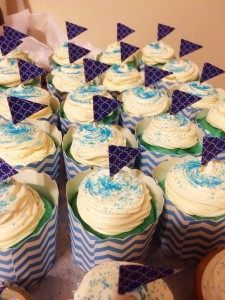 Blue Raspberry Cupcakes with Vanilla Frosting